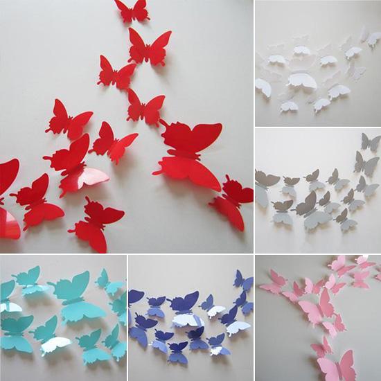 Farfalle 3D 12 pezzi adesive decorative specchio wall sticker vari colori muro  eBay
