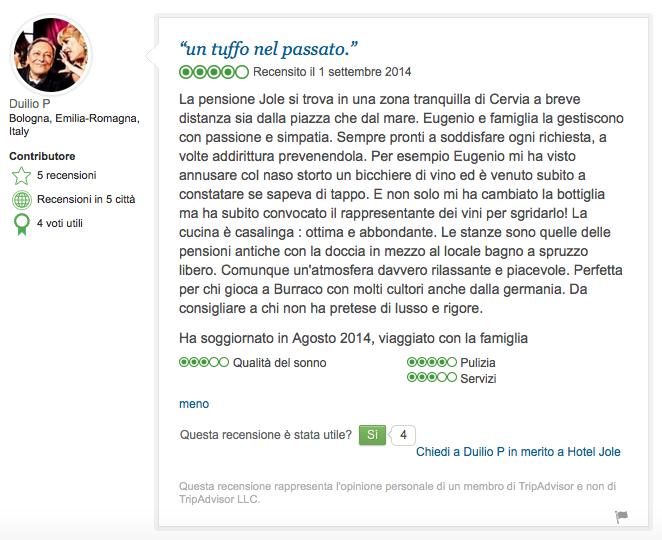 Recensione TripAdvisor Duilio Pizzocchi